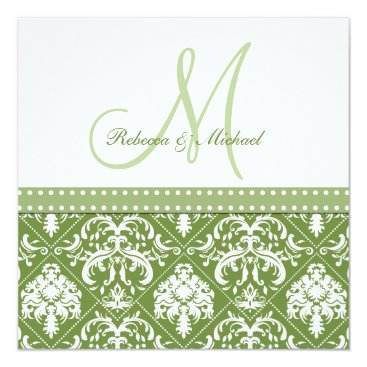 Olive Green & White vintage damask w/ monogram Invitation