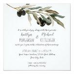 Olive Leaf Leaves Branch Watercolor Summer Wedding Invitation