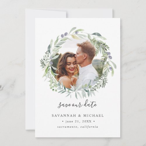Olive Wreath Photo wedding save the date