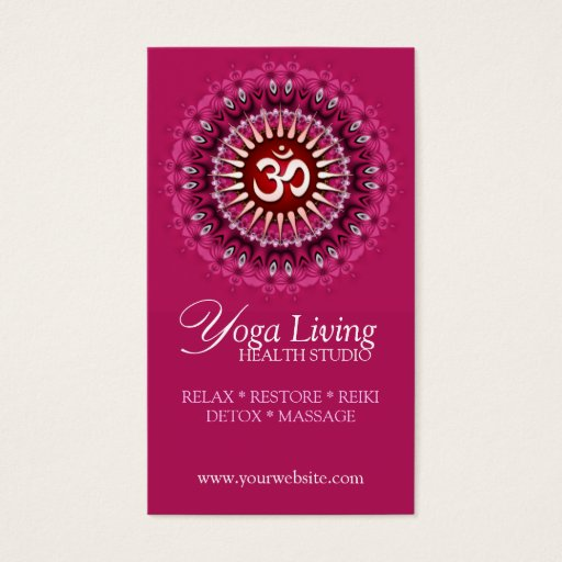 Om Yoga Pink Mandala New Age Business Cards