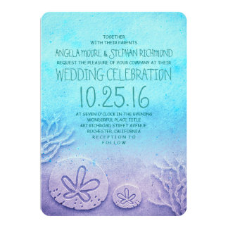 Ombre Beach Wedding Invitations Turquoise Blue