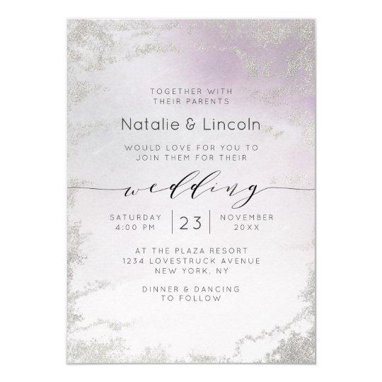 Ombre Light Purple Silver Foil Luxe Script Wedding Invitation