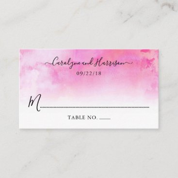 Ombre Watercolor Wedding Place Cards - Pink