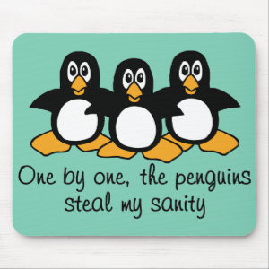One by One The Penguins Funny Saying Design Mouse Pad