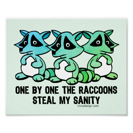 One By One The Raccoons Cute Cartoon Poster