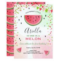One in a melon Birthday Invitation Watermelon