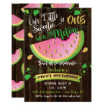 One in a Melon first Birthday Party invitation