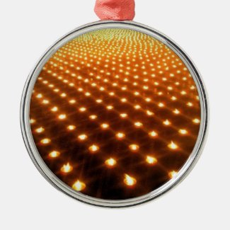 One thousand candles round metal christmas ornament