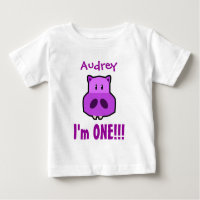 One Year 1st Birthday Boy with Hippo V02 Baby T-Shirt