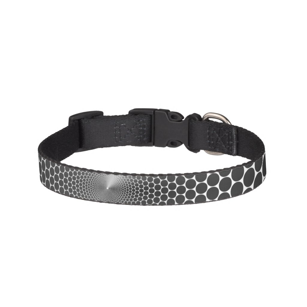 Optical Illusion Angle Gradient NOIR Silver/White Pet Collar
