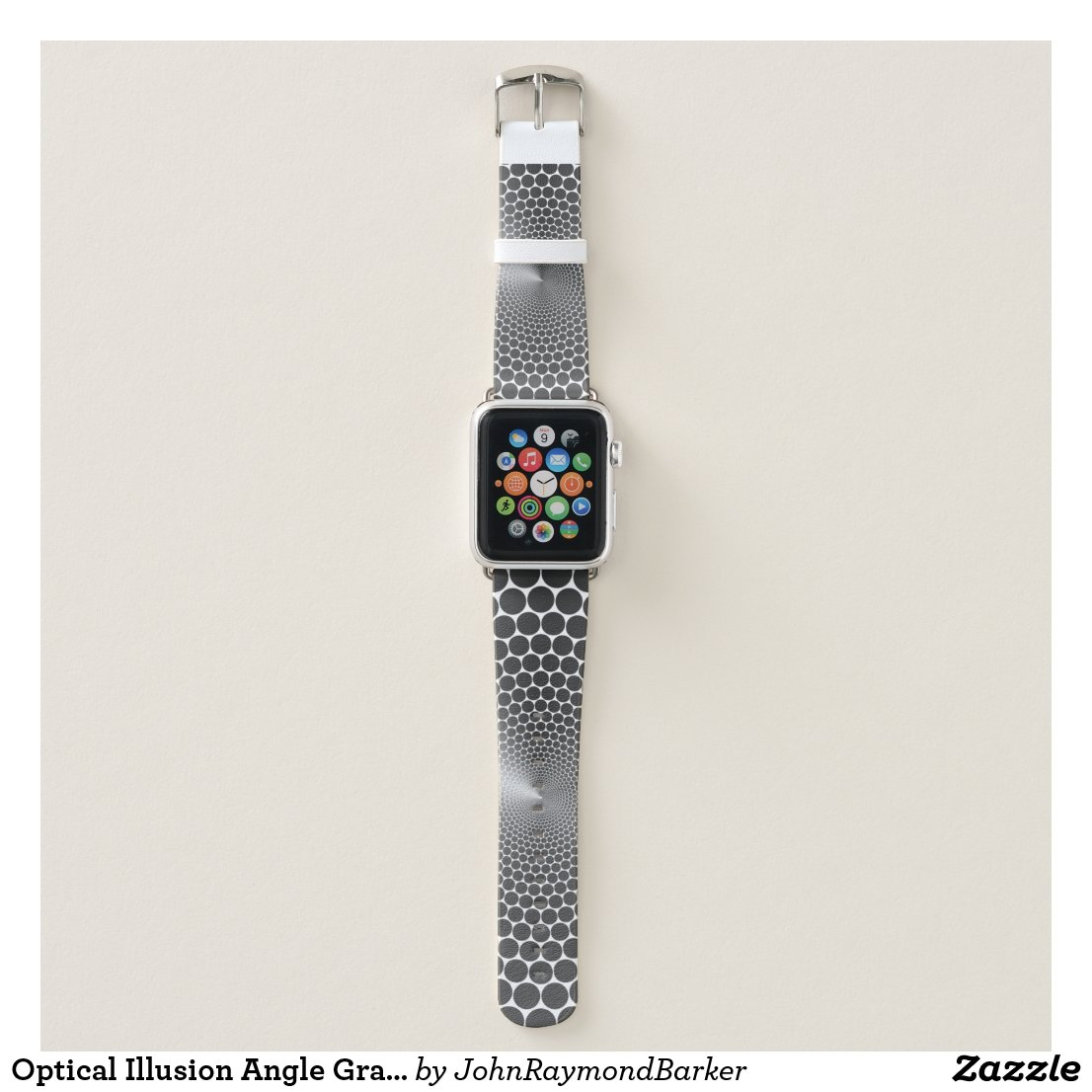Optical Illusion Angle Gradient on White NOIR Apple Watch Band