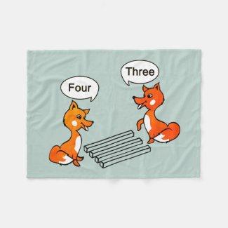 Optical illusion Trick Cute Fox Fleece Blanket