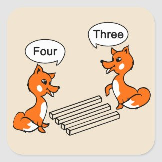 Optical illusion Trick Fox Drawing Square Sticker