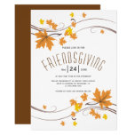Orange amd brown maple leaves fall Friendsgiving Invitation