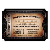 Orange & Black Admit One Halloween Party Ticket 5x7 Paper Invitation Card