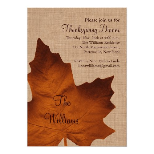 Orange Burlap Thanksgiving Dinner Invitation