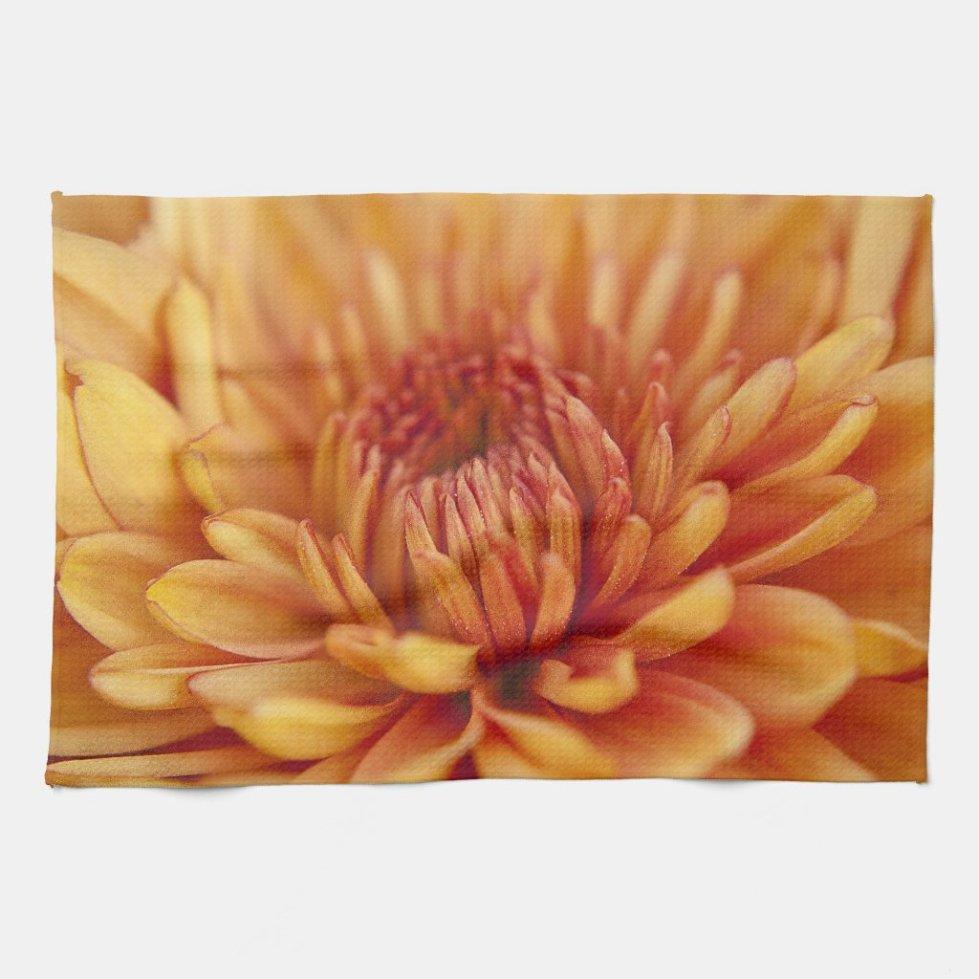 Orange Chrysanthemum Kitchen Towel
