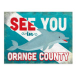 Orange County Dolphin - Retro Vintage Travel Postcard