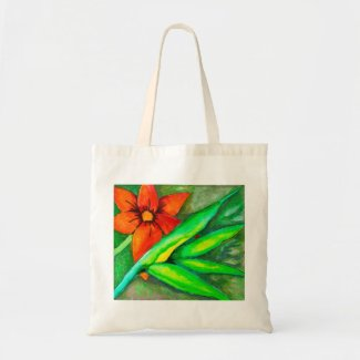 Orange Flower and green leaf Tote Bag