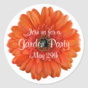 Orange Gerbera Daisy Garden Party Envelope Seal Round Stickers