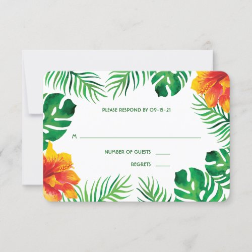 Orange Hibiscus and Tropical Leaves 2 RSVP Card