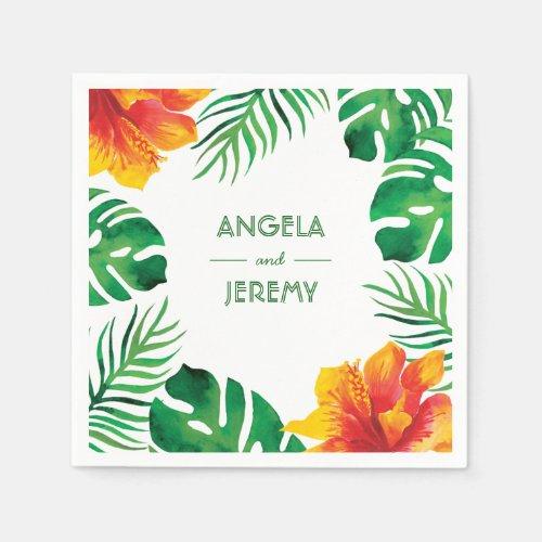 Orange Hibiscus and Tropical Leaves Wedding 2 Napkin