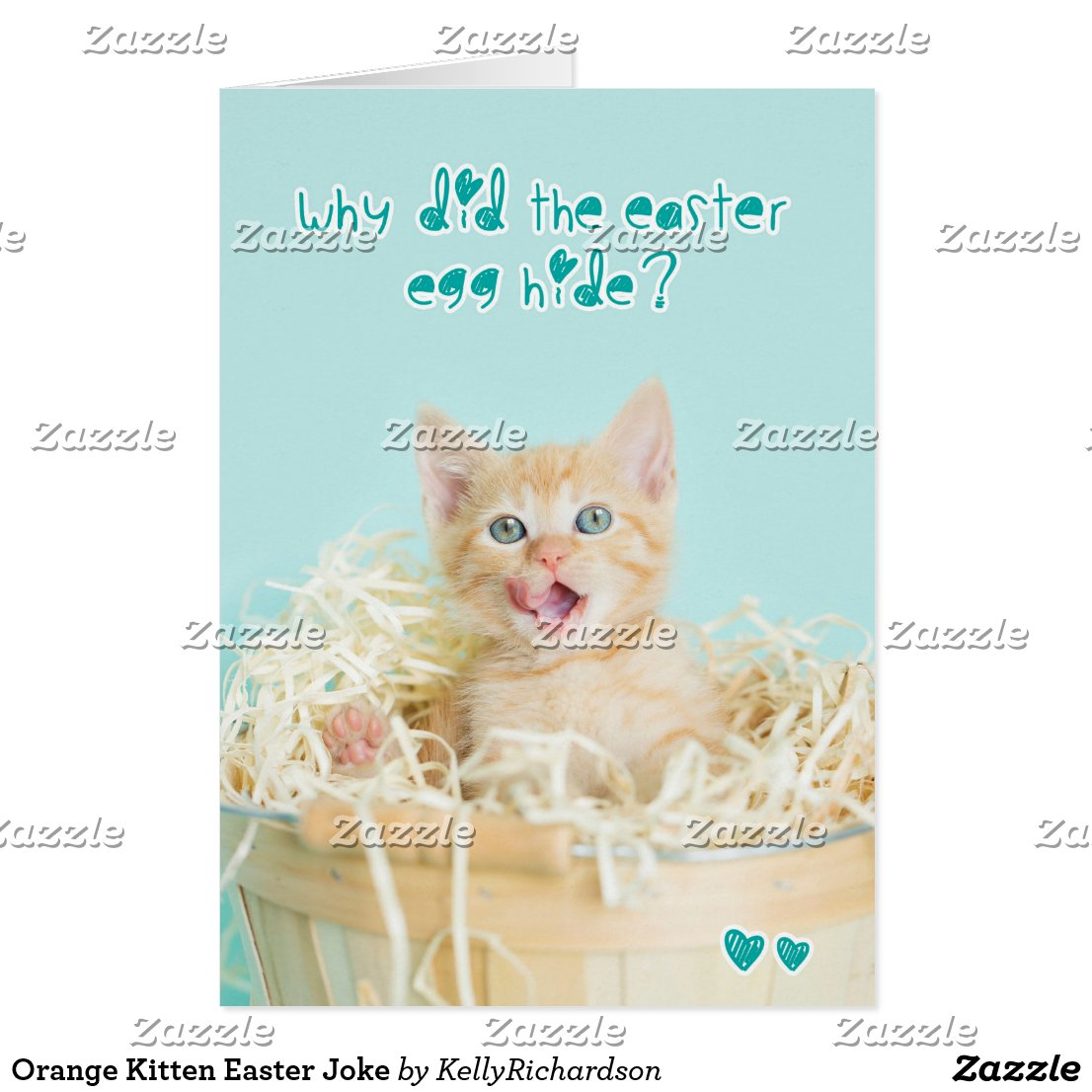 Orange Kitten Easter Joke Card