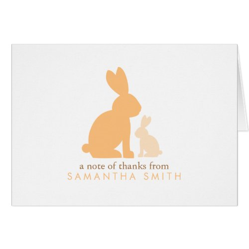 Orange Mom and Baby Rabbit Thank You Notes