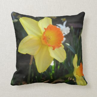Orange Nosed Daffodil Throw Pillow