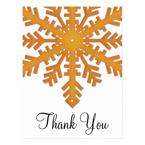 Orange Snowflake Winter Thank You Postcards