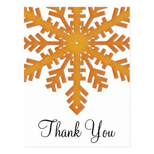 Orange Snowflake Winter Thank You Postcards