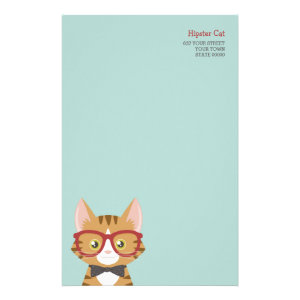 Orange Tabby Hipster Cat Kids Stationery