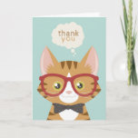❤️  Orange Tabby Hipster Cat Thank You Card