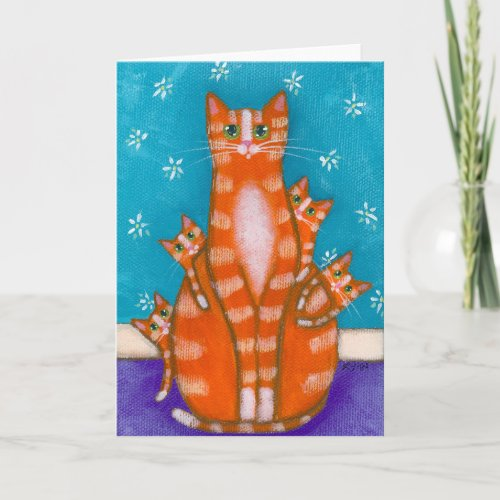 Orange Tabby Mother Cat & Kittens Card