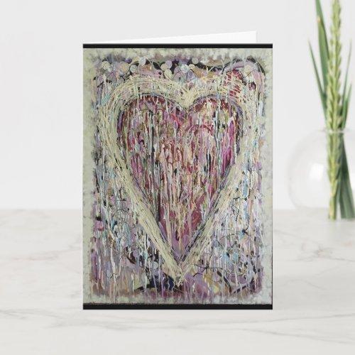 Original Art Heart Painting Valentine Card
