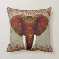 Ornate Decorated Elephant Design Throw Pillow
