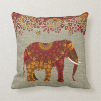 Ornate Decorated Indian Elephant Design Throw Pillow