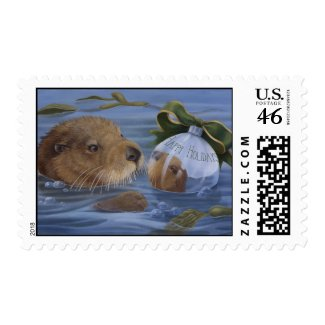 Otter Holiday Stamp stamp
