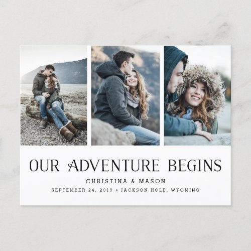 Our Adventure Begins   Three Photo Save the Date Announcement Postcard