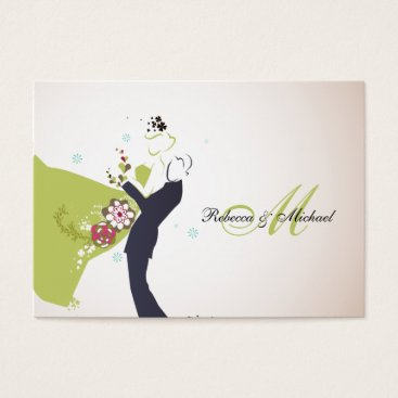Our Wedding Day - Bride & Groom with Monogram RSVP Business Card