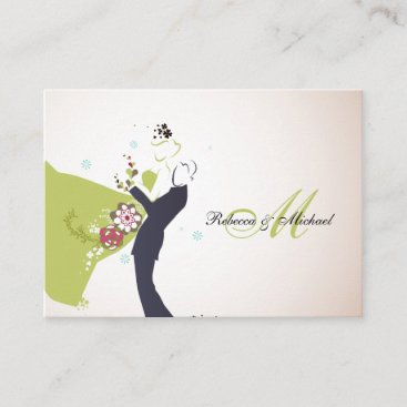 Our Wedding Day - Bride & Groom with Monogram RSVP Enclosure Card