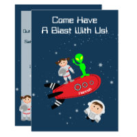 Outer Space Astronaut Children's Birthday Party Card