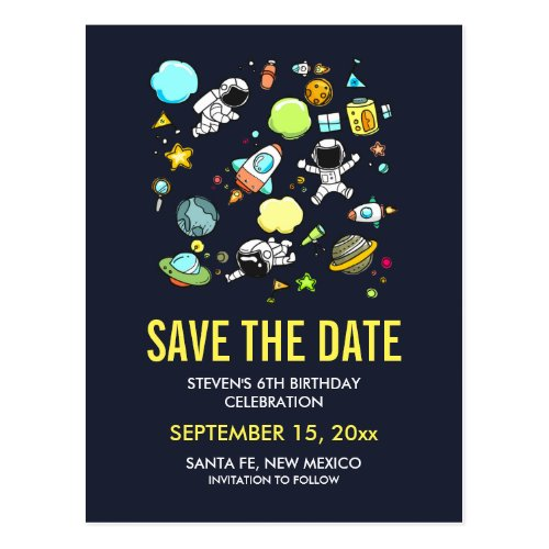 Outer Space Astronauts &amp&#x3B; Rockets Save the Date Postcard