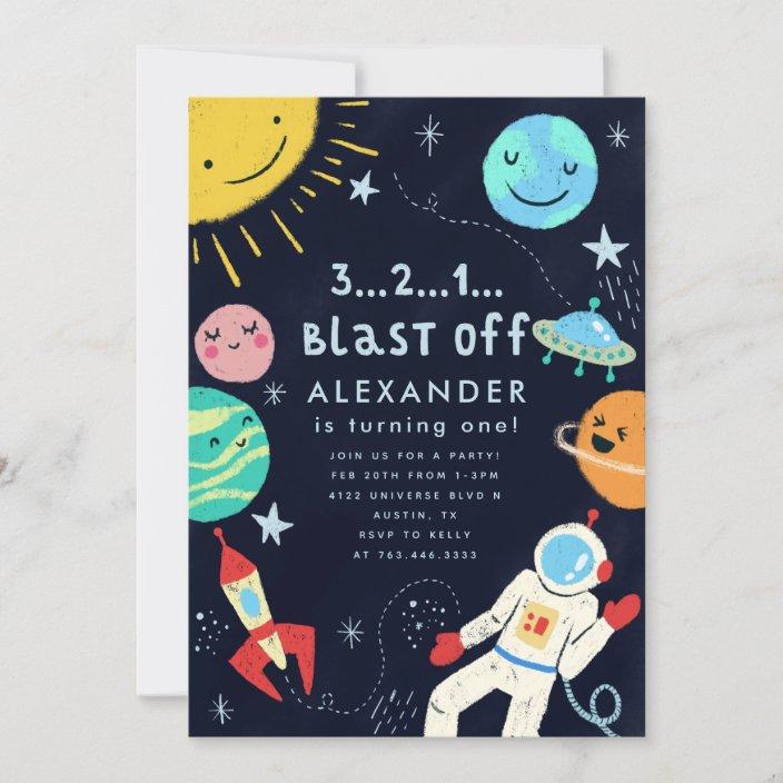 outer space blast off birthday party invitation zazzle com