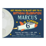 ❤️ Rocket In Outer Space Birthday Party Invitation