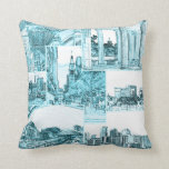 Outline Sketch of Downtown Denver, CO, Light Teal Throw Pillow