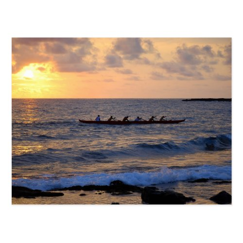 Outrigger Canoe at Sunset, Hawaii, Postcard