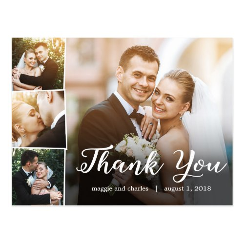 Overlapped Photos Wedding Thank You Card Postcard