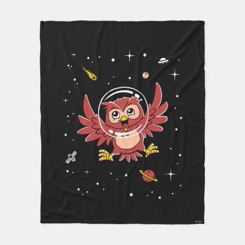 Owl Animals In Space Fleece Blanket