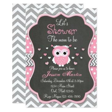 Owl Baby Shower Invitation, Chevron, Chalkboard Card